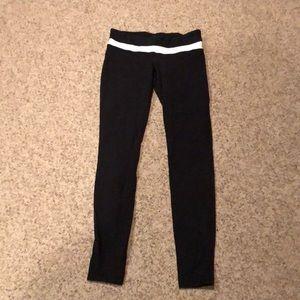 Lululemon black colorblock logo workout leggings 8
